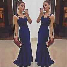 Women Lace Crochet Backless Sleeveless Evening Party Formal Cocktail Long Dress