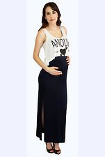 New Maternity Casual Tank Dress Amour Love Long Maxi Dresses Womens S M L XL
