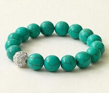 Stella & Dot Soiree Pave Crystal Ball Turquoise Stretch Bracelet NEW