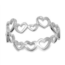Sterling Silver Designer Inspired Stacked Eternity Open Hearts Band Ring