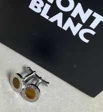 NEW Genuine MontBlanc Platinum plated cufflinks with tiger's eye stone