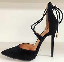 SR Faux Suede Pointy Toe Strappy Lace Up Stiletto High Slip On Heel Pump Shoe BK