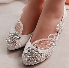 3cm/5.5cm heel White lace flowers crystal wedge Wedding shoes Bridal heels size