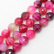 8,10,12mm Faceted Pink Stripe Agate Round Beads 15""