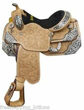 "16"" SHOWMAN SHOW SADDLE WITH FLORAL TOOLING & SILVER ACCENTS"