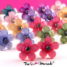 FUNKY VINTAGE FLOWER STUD EARRINGS CRYSTAL CUTE KITSCH CHIC SWEET GIFT PROM COOL