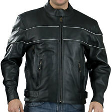 Black Premium Quality Naked Leather 1.4mm Vented Cruiser Motorcycle Jacket  $239
