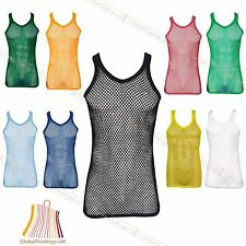 New Mens Mesh Vest Net Top Sleeveless  String 100 % Cotton Gym Fishnet Outfit