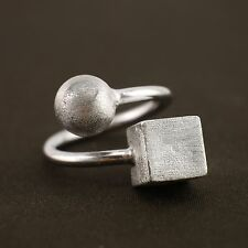 Sterling Silver Geometric Ball Cube Adjustable Pinkie Toe Midi Ring A3533