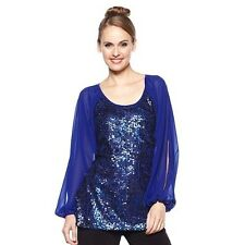AMERICAN GLAMOUR BADGLEY MISCHKA CHIFFON SEQUIN BLOUSE XL M BLACK OR BLUE