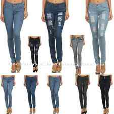 Womens Juniors Denim Stretch Destroyed Ripped Distressed Slim Skinny Jeans Pants