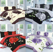 NEW Rosaleen Floral Stripe Duvet Set Quilt Bed cover single double king 4 colour