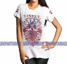SINFUL Burning Heart S3500 New Women`s White T-shirt By Affliction