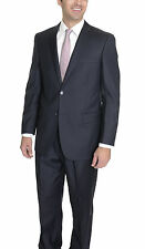 Classic Fit Solid Navy Blue Wool Suit with Pleated Pants