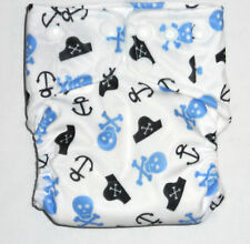 AIO Cloth diaper w/ Bamboo Hemp Fleece & Zorb Fabric- Skull Pirate Pattern