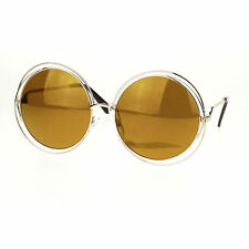 Super Oversized Round Circle Wire Metal Frame Womens Sunglasses