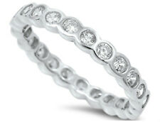Sterling Silver 925 ROUND STACKABLE ETERNITY CLEAR CZ BAND RING 3MM SIZES 5-10