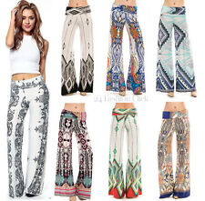 Women's Boho PRINT PALAZZO PANTS High Waist Yoga Foldover Band Wide legs S M L