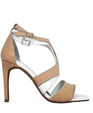 JEFFREY CAMPBELL SAVOY NUDE WHITE LEATHER SINGLE SOLE HIGH HEEL DRESS SANDAL