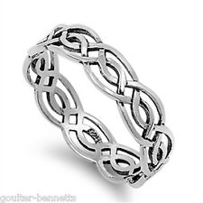 925 Sterling Silver Stacking Stacker Celtic Style Woven Band Ring 5 mm Wide