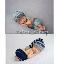 Light Blue long tail Baby Crochet Knit Costume Photography Photo Prop Hat Outfit