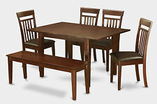 Milan 6 Pieces dinette set for small space-kitchen table and 4 chairs and Bench