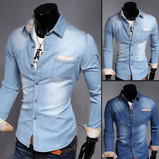 2015 New Men Stylish Long Sleeve Slim Fit Turn-down Collar Cowboys Casual Shirts