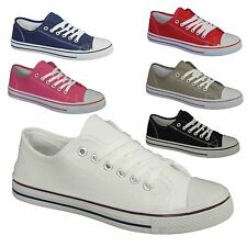 WOMENS LADIES GIRLS FLAT CASUAL LACE UP CANVAS SHOES PUMPS TRAINERS