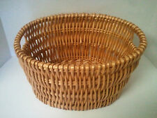 "Vintage Wicker Basket- Large Oval Round Shape With Side Handles- 14"" x 11"" x 7"""