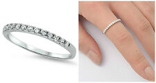 Sterling Silver 925 HALF ETERNITY WEDDING BAND DESIGN CLEAR CZ RING 2MM SIZE3-10