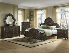 Cherry Finish Bedroom 4pc set of Queen Cal King & Est King Size Bed Furniture