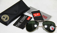 Genuine Ray Ban Aviator Polarized RB3025 001/58 all size Gold Frame Green Lens