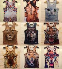 Fashion Men Women 3D Animals Printed Funny T-shirt Tee Waistcoat Vest Tank Top