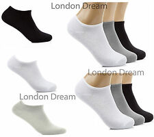 6x or 12x Pairs Mens Ladies Cotton Trainer Liner Ankle Socks 3 Color Pack