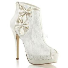 Fabulicious Shoes BELLA-28 Peep Toes Heels White Lace Wedding Bridal Sexy