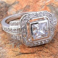2.25Ct Princess Cut Women Engagement Ring 925 Sterling Silver Wedding Size 5-10