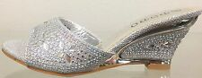 DODO16-11 Rhinestone Glitter Prom Wedding Slide Mule Kitten Wedge Shoe Silver
