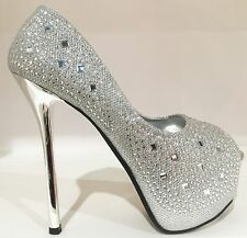 Prom Wedding Platform Stiletto Heel Glitter Rhinestone Pumps Slip On Shoe Silver