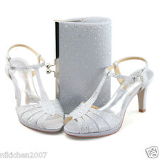 womens glitter strappy silver high heel sandal wedding dress shoes wide fit bags