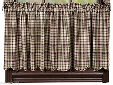 Jackson Lined Country Cafe Curtains Window Tier Set Red & Green Plaid
