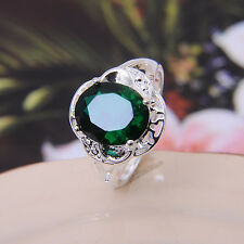 Unique Emerald & Topaz Cut Wedding Ring 925 Sterling Silver Promise Ring SZ 6-9