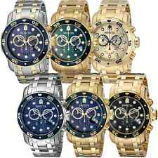 Invicta 0074 Pro Diver Chronograph 18k Gold Plated Stainless Steel Mens Watch