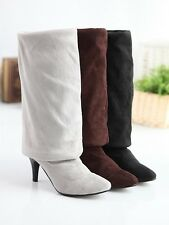 Womens Faux Suede Over Knee Thigh High Leg Knee Stilettos High Heel Boots