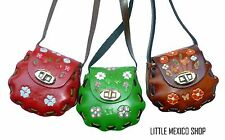 WOMENS TOOLED Leather Coin Purse Wallet MEXICAN Leather Clutch Vintage Flowers