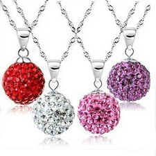 Trendy Crystal Rhinestone Pave Disco Ball Beads Necklace Pendants Charms 10mm