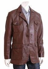 Mens Fitted Safari Real Leather Coat Jo Brown Classic Retro Reefer Blazer Jacket