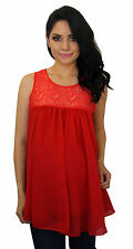 Red Maternity Sleeveless Chiffon Lace Maternity Pregnancy Top  S M L XL