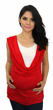 Royal Red White Maternity Blouse Casual Sleeveless Top S M L XL