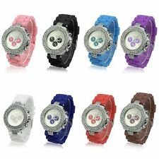 Casual Geneva Silicone Crystal Quartz Girls Ladies Women Jelly Dial Wrist Watch