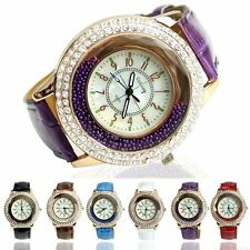 Vogue Girl Women Crystal Dial Quartz Analog Leather Bracelet Luxury Wrist Watch